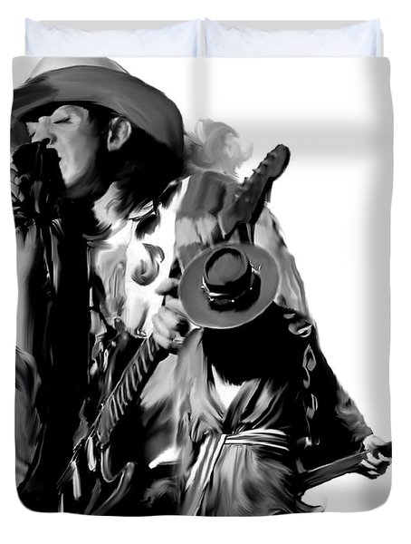 Soul To Soul  Stevie Ray Vaughan Duvet Cover by Iconic Images Art Gallery David Pucciarelli