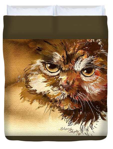 Sour Puss Duvet Cover by Sherry Shipley
