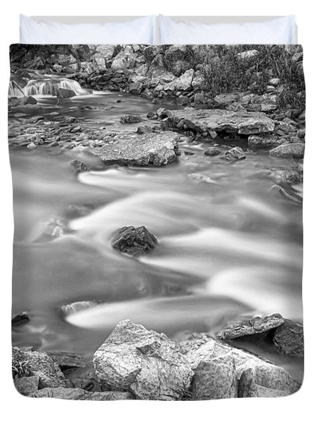 South Boulder Creek Little Waterfalls Rollinsville Bw Duvet Cover by James BO  Insogna