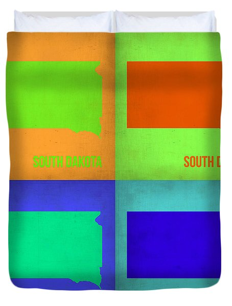 South Dakota Pop Art Map 1 Duvet Cover by Naxart Studio