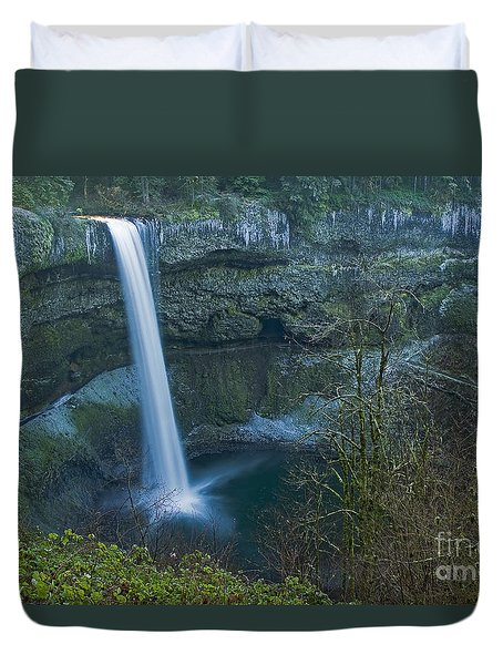 Duvet Cover featuring the photograph South Falls Winterscape by Nick  Boren