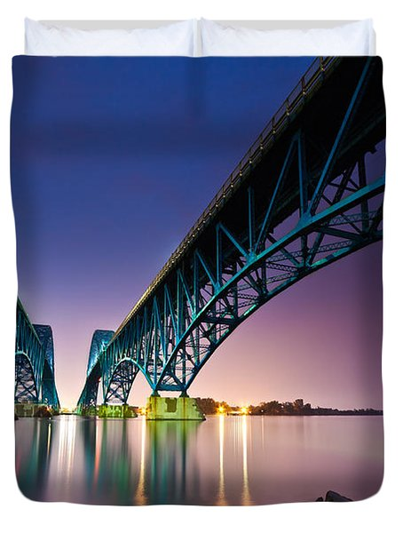 South Grand Island Bridge Duvet Cover by Mihai Andritoiu
