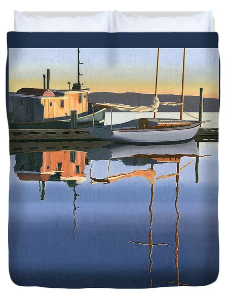 Duvet Cover featuring the painting South Harbour Reflections by Gary Giacomelli