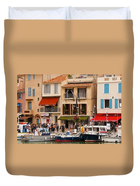 South Of France Fishing Village Duvet Cover by Bob Phillips