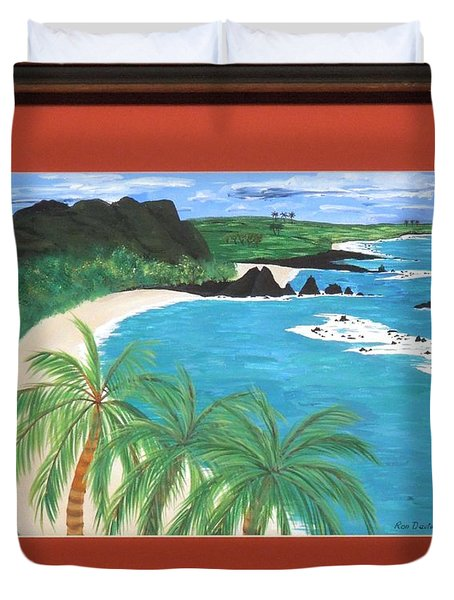 Duvet Cover featuring the painting South Pacific by Ron Davidson