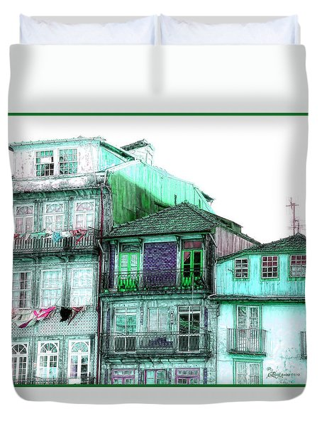 South Side Of Town-featured In Old Buildings And Ruins Group Duvet Cover