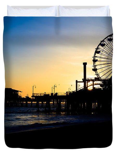 Southern California Santa Monica Pier Sunset Duvet Cover by Paul Velgos