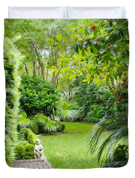 Duvet Cover featuring the photograph Southern Garden Charleston South Carolina by Vizual Studio