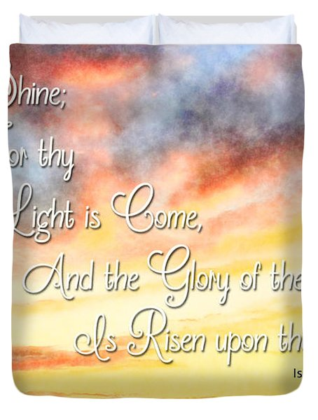 Southern Sunset - Digital Paint IIi With Verse Duvet Cover by Debbie Portwood
