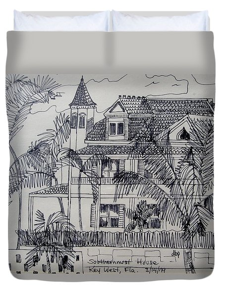Southernmost House  Key West Florida Duvet Cover by Diane Pape