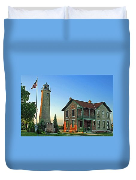 Duvet Cover featuring the photograph Southport Lighthouse On Simmons Island by Kay Novy