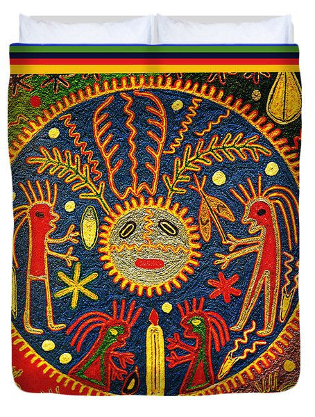 Duvet Cover featuring the digital art Southwest Huichol Del Sol by Vagabond Folk Art - Virginia Vivier
