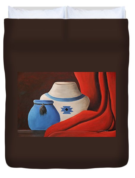 Duvet Cover featuring the painting Southwest Pottery by Kenny Francis