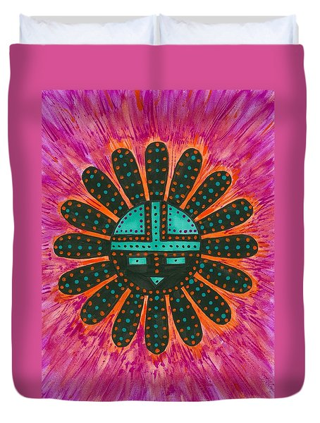 Duvet Cover featuring the painting Southwest Sunburst Sunface by Susie Weber