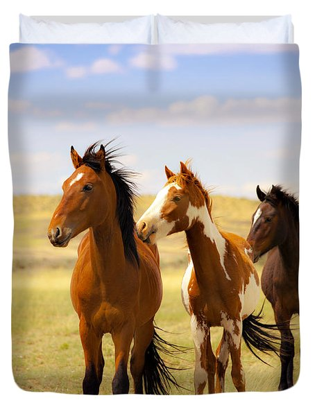 Southwest Wild Horses On Navajo Indian Reservation Duvet Cover by Jerry Cowart