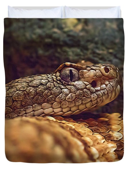 Duvet Cover featuring the photograph Southwestern Speckled Rattlesnake  by Brian Cross