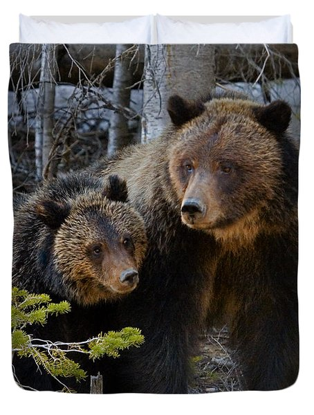 Duvet Cover featuring the photograph Sow And Cub by J L Woody Wooden