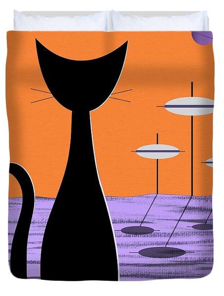 Space Cat Orange Sky Duvet Cover
