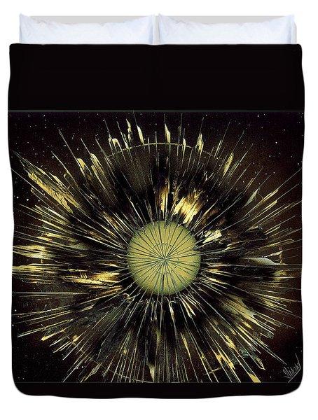 Dandelion Floating In Space Duvet Cover
