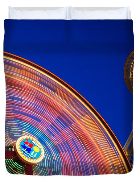 Space Needle And Wheel Duvet Cover by Inge Johnsson