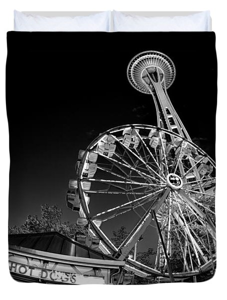 Space Needle Fights The End Of The World Duvet Cover