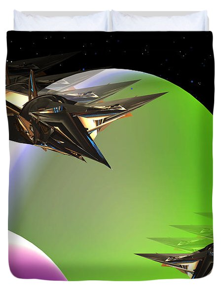 Duvet Cover featuring the digital art Space by Steven Lebron Langston