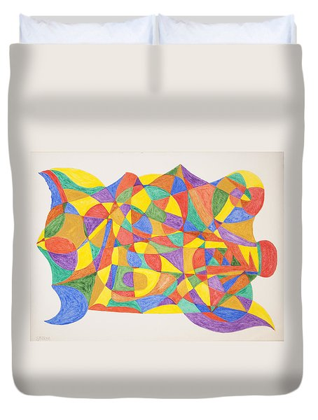 Duvet Cover featuring the painting Space Craft by Stormm Bradshaw
