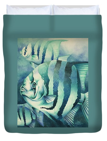 Duvet Cover featuring the painting Spadefish by William Love