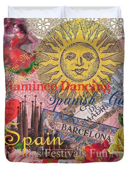 Spain Vintage Trendy Spain Travel Collage  Duvet Cover