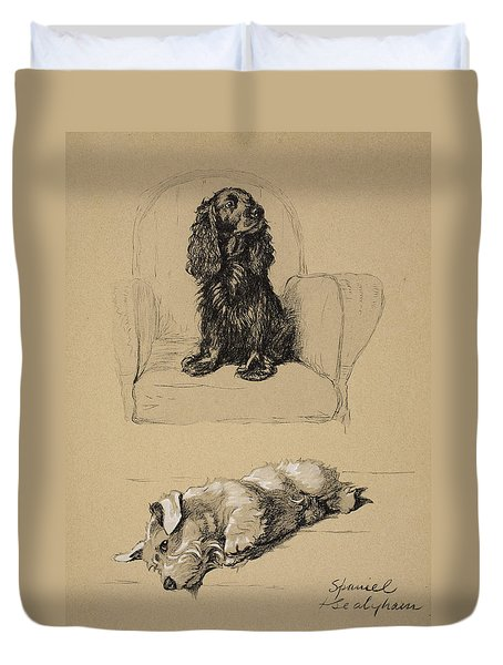 Spaniel And Sealyham, 1930 Duvet Cover by Cecil Charles Windsor Aldin