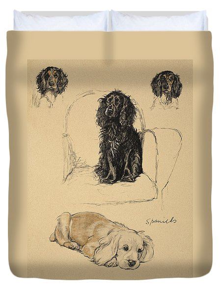 Spaniels, 1930, Illustrations Duvet Cover by Cecil Charles Windsor Aldin