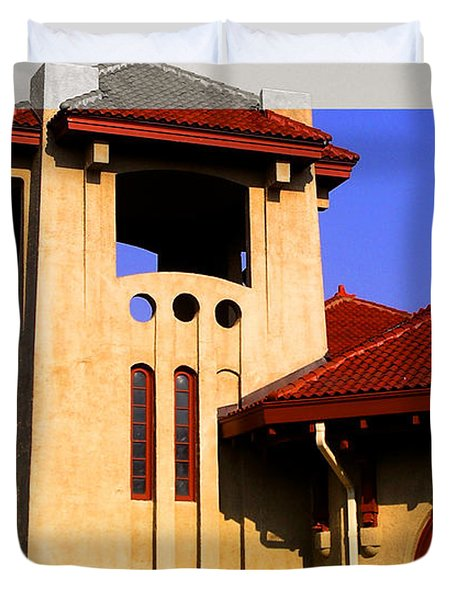 Spanish Architecture Tile Roof Tower Duvet Cover