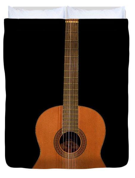 Spanish Guitar On Black Duvet Cover by Debra and Dave Vanderlaan