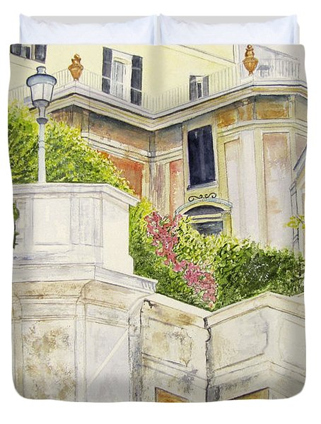Duvet Cover featuring the painting Spanish Steps by Carol Flagg
