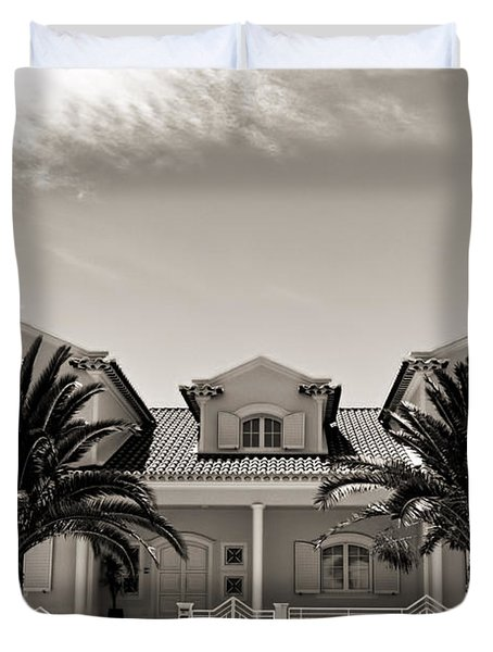 Spanish Village With Palm Trees Duvet Cover