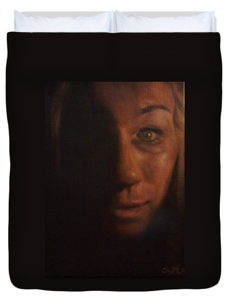 Duvet Cover featuring the painting Spare Some Change by Cherise Foster