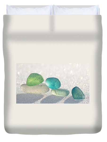 Sparkling Sea Glass Friends Duvet Cover by Barbara McMahon