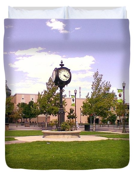 Duvet Cover featuring the photograph Sparks Community Clock by Bobbee Rickard
