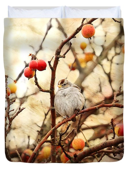 Sparrow In A Crab Apple Tree Duvet Cover by Peggy Collins