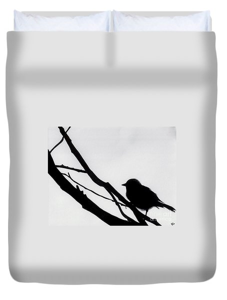 Duvet Cover featuring the drawing Sparrow In A Gray Sky by D Hackett