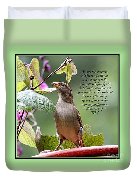 Sparrow Inspiration From The Book Of Luke Duvet Cover by Catherine Sherman