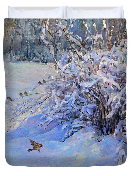 Sparrow On Snow Duvet Cover