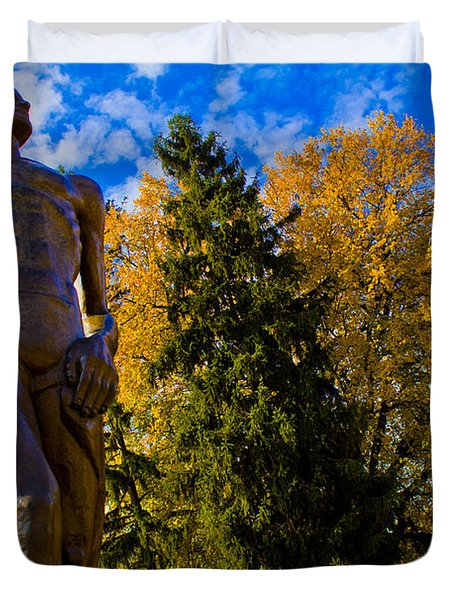 Sparty From Below In Autumn Duvet Cover