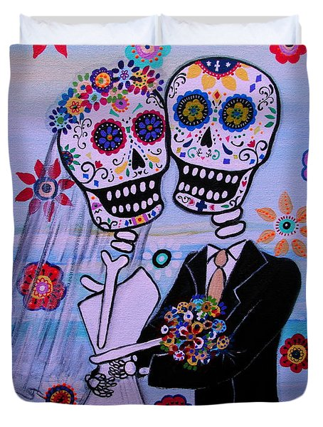 Special Day Dia De Los Muertos Wedding Duvet Cover