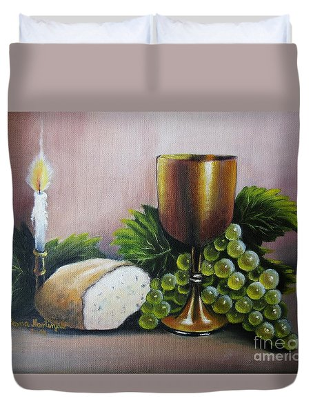 Duvet Cover featuring the painting Special Evening by Vesna Martinjak