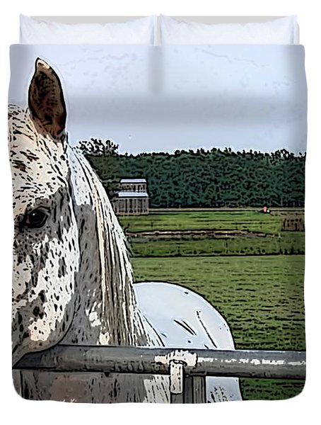 Duvet Cover featuring the photograph Speck At The Gate by Lesa Fine