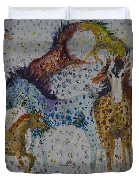 Duvet Cover featuring the painting Speckled Horses by Avonelle Kelsey