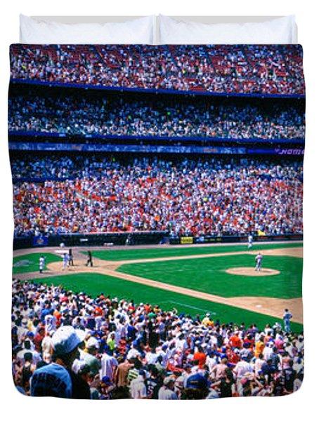 Spectators In A Baseball Stadium, Shea Duvet Cover