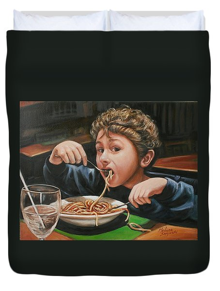 Duvet Cover featuring the painting Spaghetti Boy by Melinda Saminski