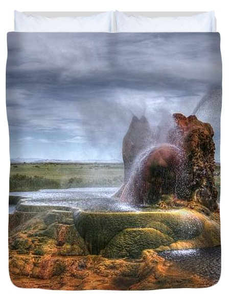 Spewing Minerals At Fly Geyser Duvet Cover